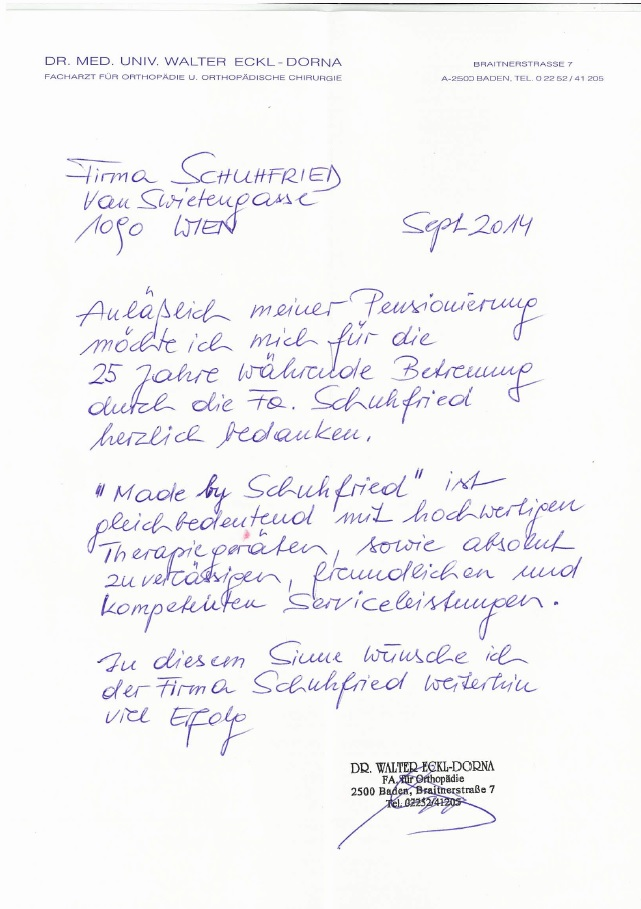 Dankesschreiben Dr.Eckl-Dorna - Dr. Schuhfried